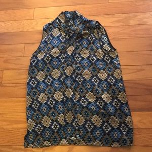 Lafayette 148 Blue Silk Geometric Top w Neck Tie